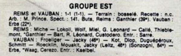 1984 D3 J07 ( joué après J27) REIMS VAUBAN-STRASBOURG 1-1, le 30/04/1985