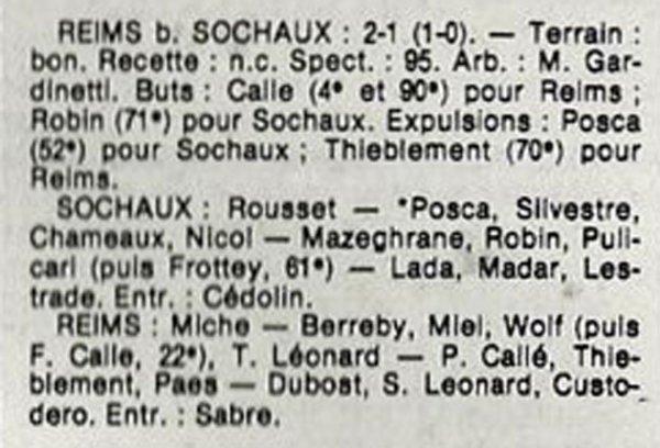1984 D3 J29 SOCHAUX REIMS 1-2, le 12/05/1985