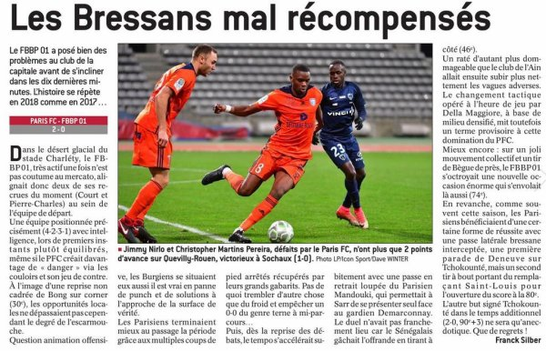 2017 Ligue 2 J20 PARIS FC BOURG en BRESSE 2-0, le 12/01/2018