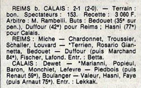 1982 D3 J07 REIMS CALAIS 2-1, le 09/10/1982