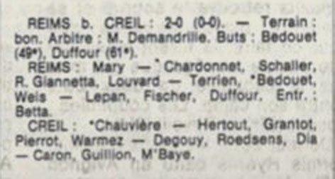 1982 D3 J16 REIMS CREIL 2-0, le 23/01/1983