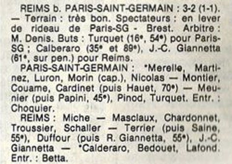 1982 D3 J23 PARIS SG REIMS 2-3, le 03/04/1983
