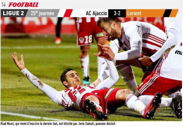 2017 Ligue 2 J25 AJACCIO LORIENT 3-2, le 09/02/2018