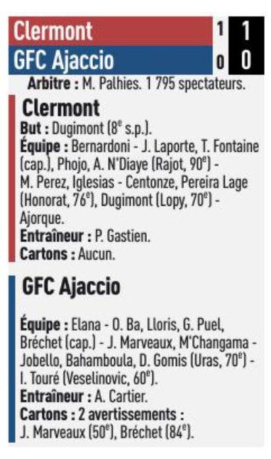 2017 Ligue 2 J25 CLERMONT GAZELEC 1-0, le 09/02/2018