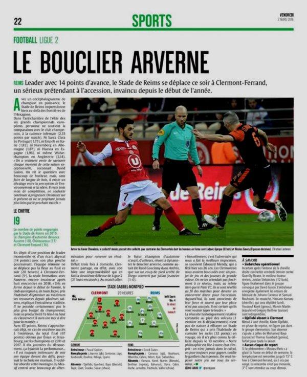 2017 Ligue 2 J28 CLERMONT REIMS , l'avant match , le 02/03/2018