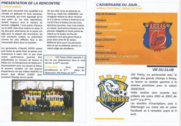 2017 NATIONAL 2 J24 POISSY ARRAS 1-1, le 24/03/2018