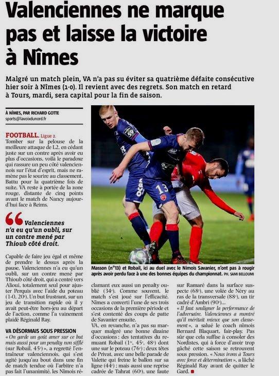 2017 Ligue 2 J31 NÎMES VALENCIENNES 1-0, le 30/03/2018