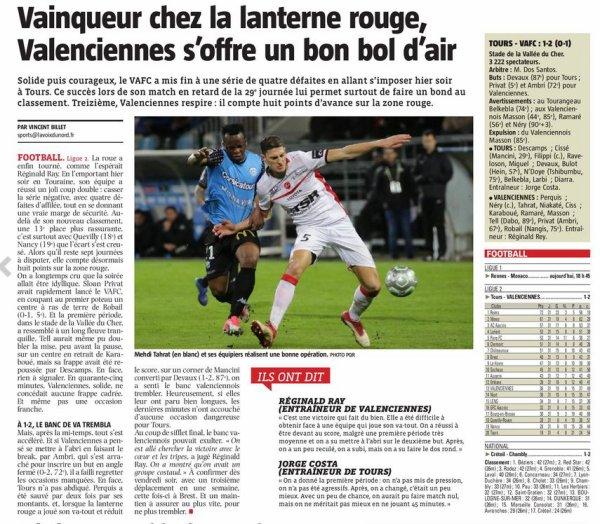 2017 Ligue 2 J29 ( joué après J31) TOURS VALENCIENNES 1-2, le 03/04/2018