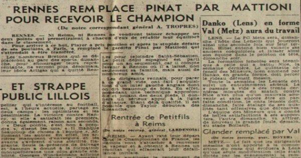 1949 D1 J04 RACING REIMS, l'avant match, le 11/09/1949