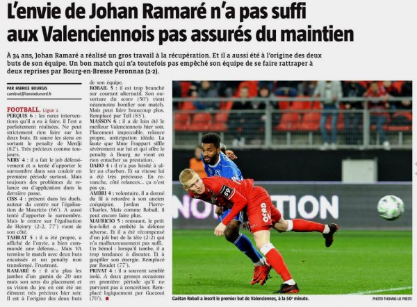 2017 Ligue 2 J33 VALENCIENNES BOURG en BRESSE 2-2, le 13/04/2018