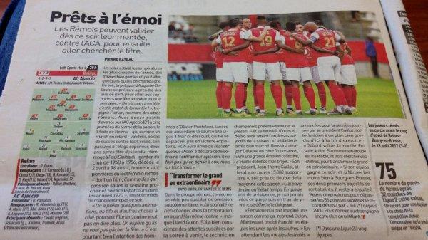 2017 Ligue 2 J34 REIMS AJACCIO , l'avant match, le 20/04/2018