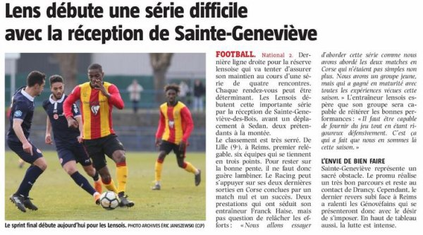 2017 NATIONAL 2 J27 LENS SAINTE-GENEVIEVE 2-2, le 21/04/2018