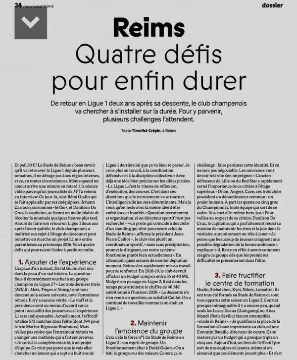 2017 Ligue 2 : Les DEFIS à RELEVER  du STADE de REIMS, le 24/04/2018