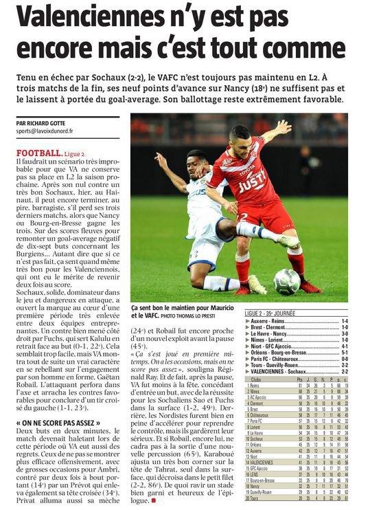 2017 Ligue 2 J35 VALENCIENNES SOCHAUX 2-2, le 24/04/2018
