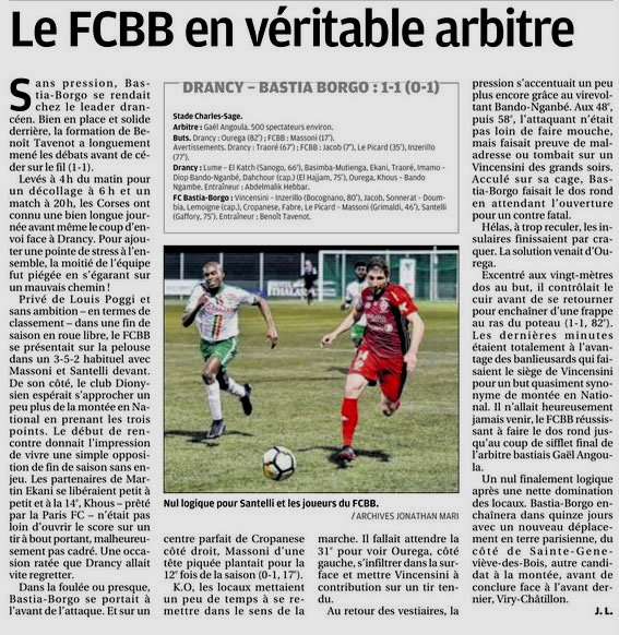 2017 NATIONAL 2 DRANCY BASTIA BORGO 1-1, le 27/04/2018