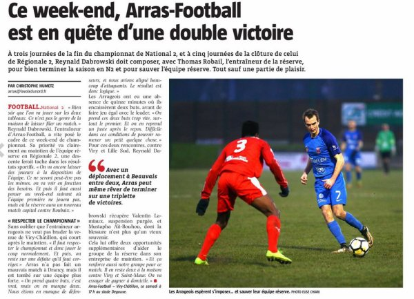2017 NATIONAL 2 J28 ARRAS VIRY-CHÂTILLON 1-0, le 28/04/2018