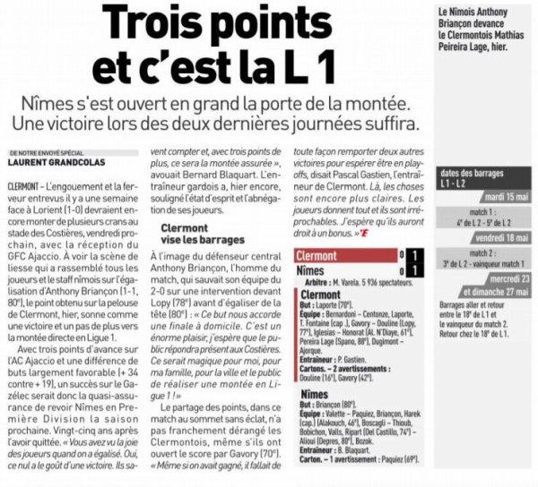 2017 Ligue 2 J36 CLERMONT NÎMES 1-1, le 28/04/2018