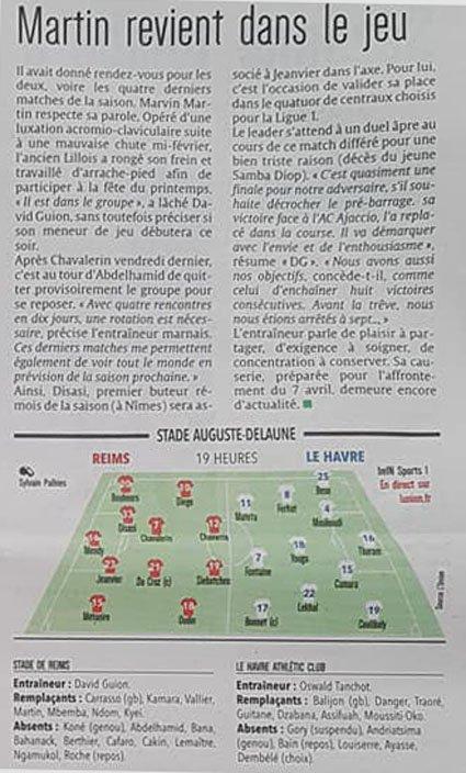 2017 Ligue 2 J32 ( joué après J36) REIMS LE HAVRE, l'avant match, le 30/04/2018