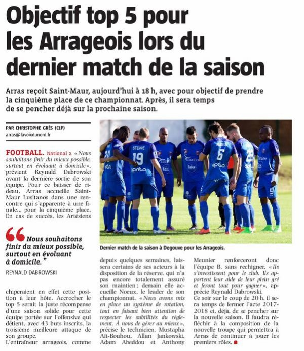 2017 NATIONAL 2 J30 ARRAS LUSITANOS 3-1, le 19/05/2018