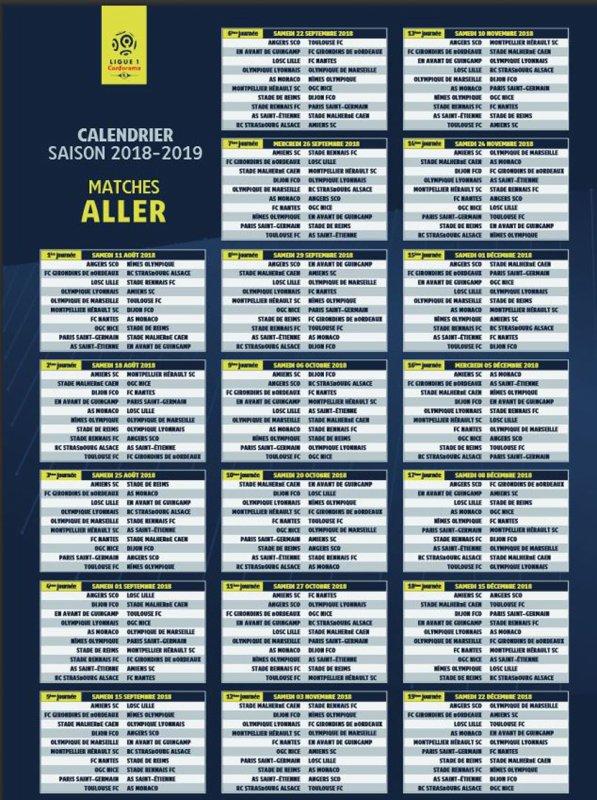 2018 Ligue 1 : LE CALENDRIER COMPLET de la LIGUE 1, le 07/06/2018