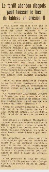1938 D2 FORFAIT GENERAL : C'est au tour de DIEPPE, le 24/05/1939