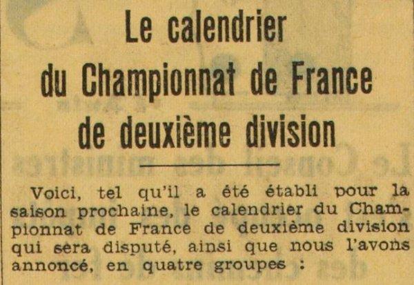 1937 D2 PHASE 1 : le CALENDRIER du GROUPE EST, le 01/08/1937