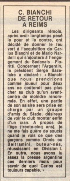 1984 MERCATO : LE RETOUR DU GOLEADOR, le 22/05/1984