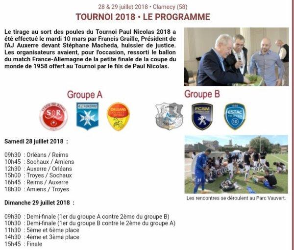 2018 TOURNOI PAUL NICOLAS , l'avant match : les 28 et 29/08/2018