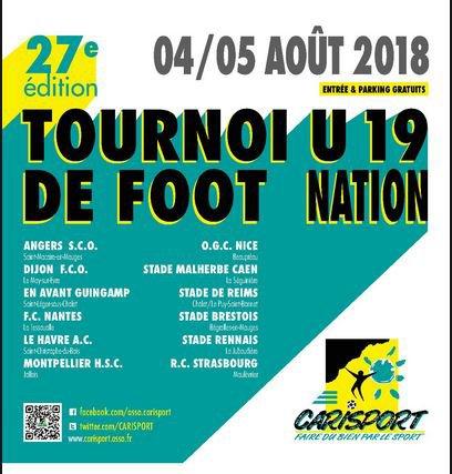 2018 U19 TOURNOI CARISPORT, REIMS FINIT DERNIER 12eme/12,  les 4 et 5/08/2018