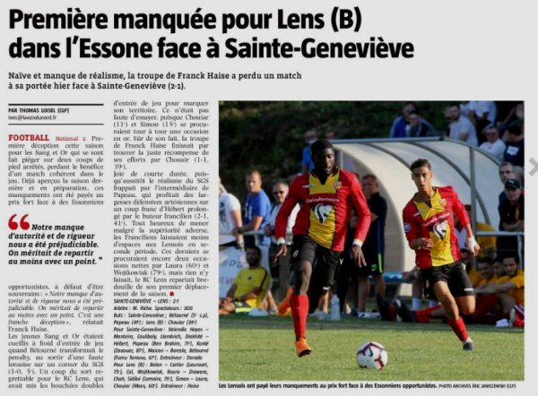 2018 NATIONAL 2 J01 SAINTE-GENEVIEVE LENS 2-1, le 11/08/2018