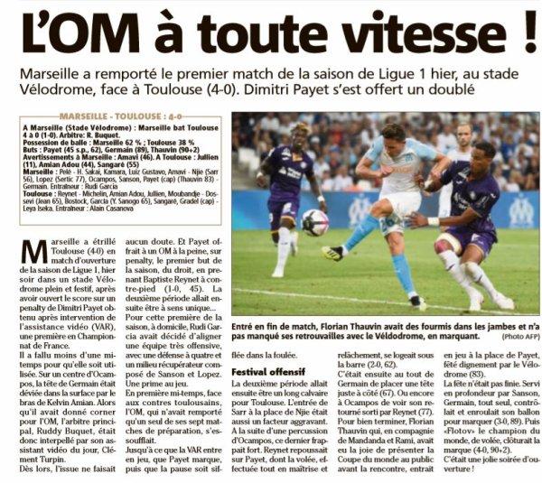 2018 Ligue 1 J01 MARSEILLE TOULOUSE 4-0, le 10/08/2018