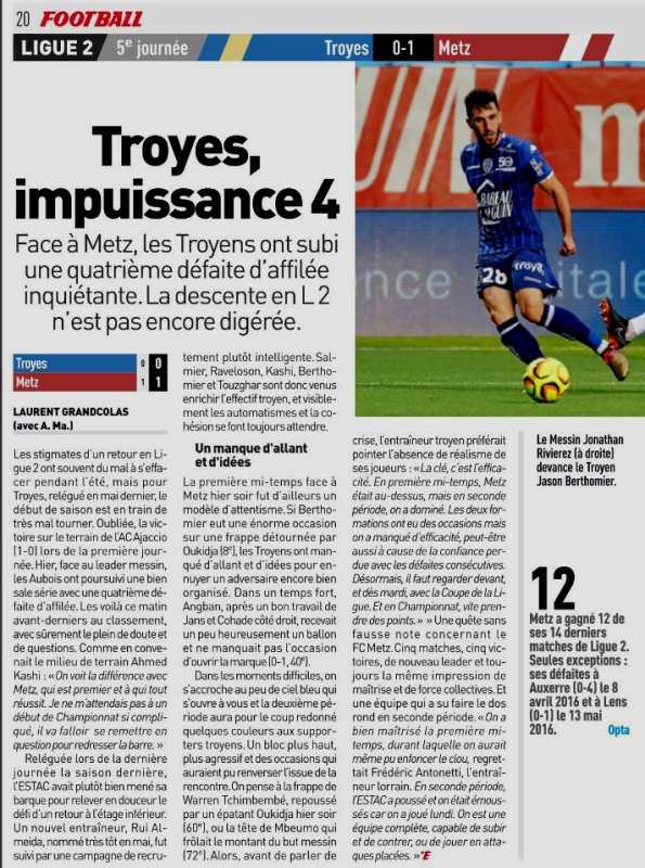 2018 Ligue 2 J05 TROYES METZ 0-1, le 24/08/2018