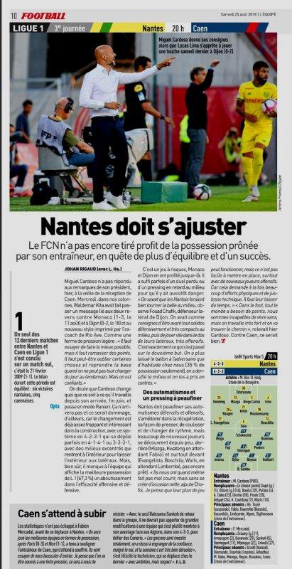 2018 Ligue 1 J03 NANTES CAEN 1-1, le 25/08/2018