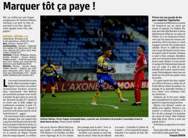 2018 Ligue 2 J06 SOCHAUX BEZIERS 1-0, le 31/08/2018
