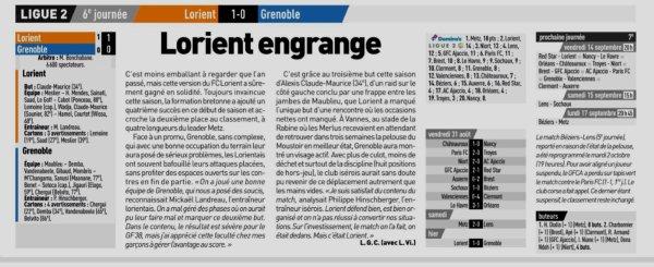 2018 Ligue 2 J06 LORIENT GRENOBLE 1-0, le 03/09/2018