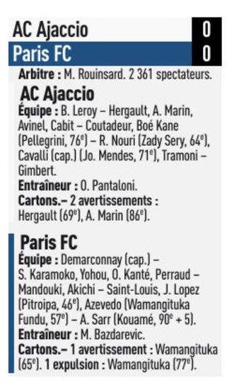 2018 Ligue 2 J07 AJACCIO PARIS FC 0-0, le 14/09/2018