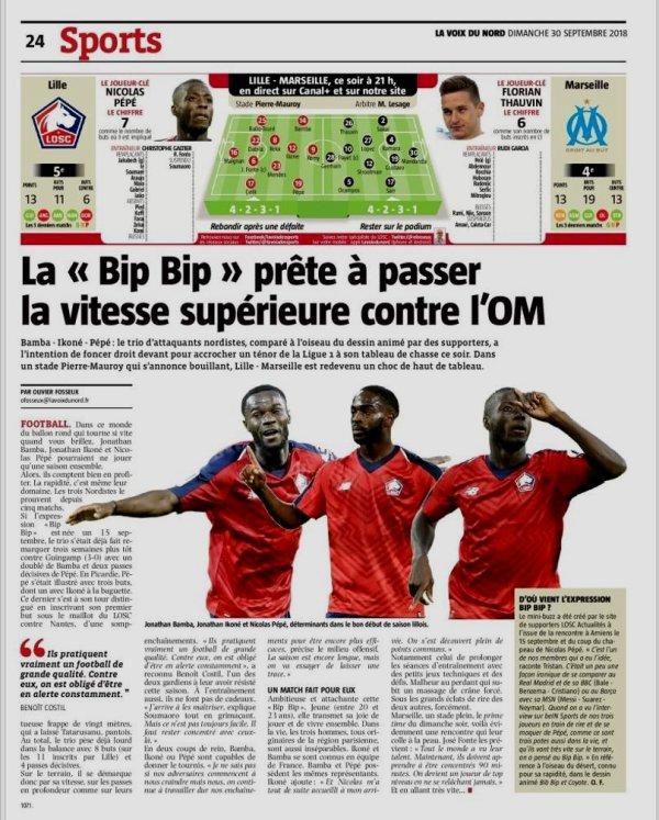 2018 Ligue 1 J08 LILLE MARSEILLE 3-0, le 30/09/2018