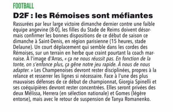 2018 D2 Féminines J05 SAINT DENIS REIMS 0-3, le 30/09/2018