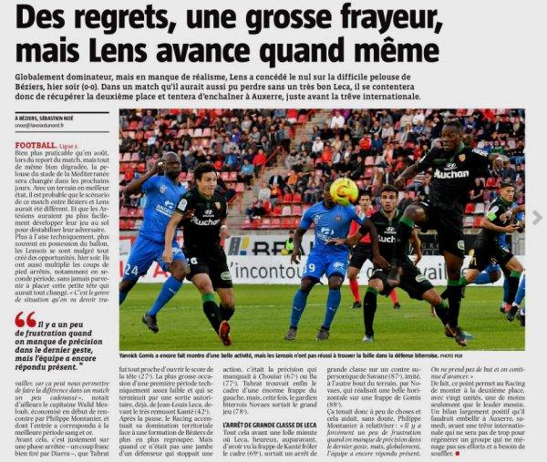 2018 Ligue 2 J05 ( joué après J09 ) BEZIERS LENS 0-0, le 02/10/2018