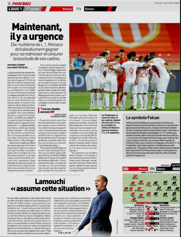 2018 Ligue 1 J09 MONACO RENNES 1-2 , le 07/10/2018
