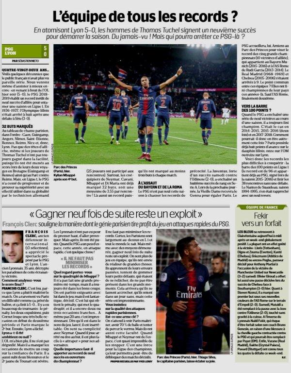 2018 Ligue 1 J09 PSG LYON 5-0, le 07/10/2018