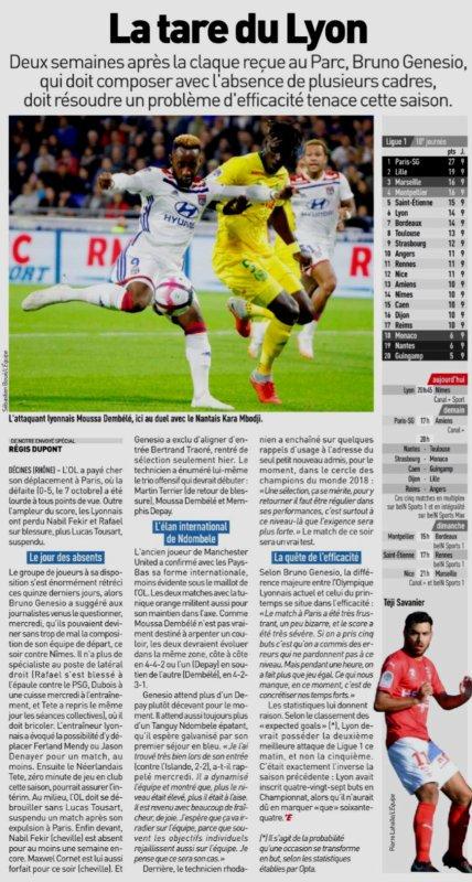 2018 Ligue 1 J10 LYON NÎMES 2-0 , le 19/10/2018