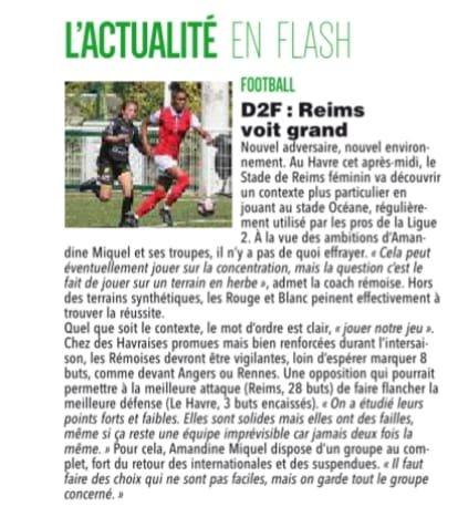 2018 D2 Féminines J07 LE HAVRE REIMS 0-1, le 21/10/2018