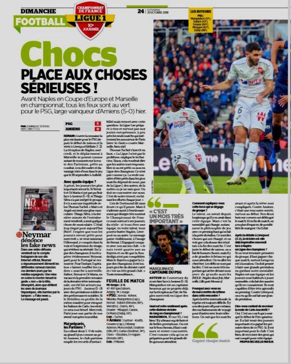 2018 Ligue 1 J10 PSG AMIENS 5-0, le 20/10/2018