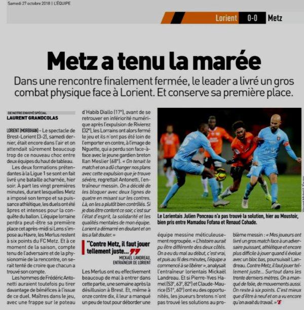 2018 Ligue 2 J12 LORIENT METZ 0-0, le 26/10/2018