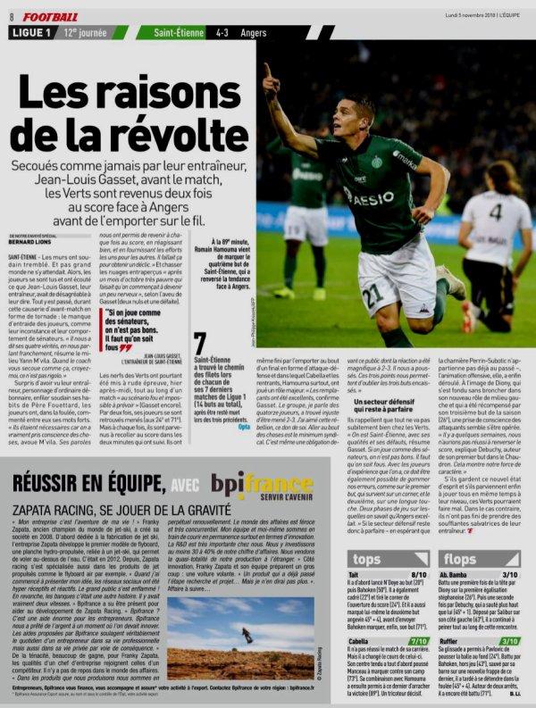 2018 Ligue 1 J12 SAINT-ETIENNE ANGERS 4-3, le 04/11/2018