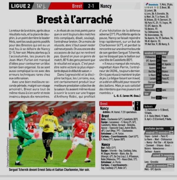 2018 Ligue 2 J14 BREST NANCY 2-1, le 12/11/2018