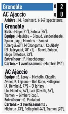 2018 Ligue 2 J14 GRENOBLE AJACCIO 2-0, le 09/11/2018