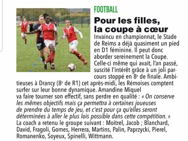 2018 Féminines CDF T1 Fédéral DRANCY REIMS 1-10, le 25/11/2018