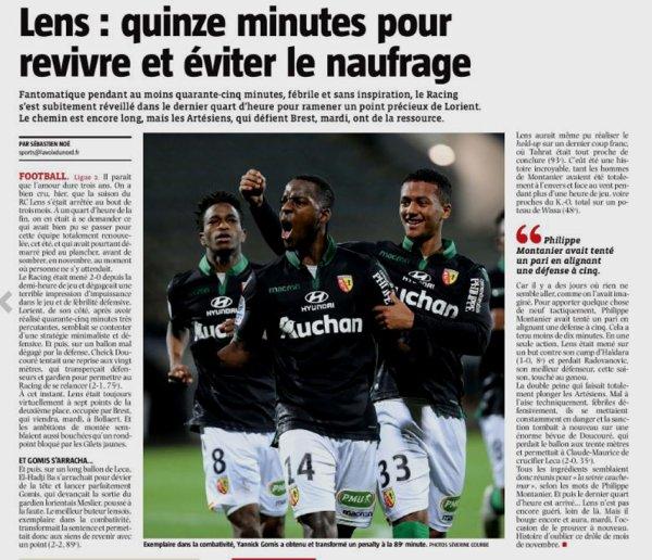 2018 Ligue 2 J16 LORIENT LENS 2-2, le 30/11/2018
